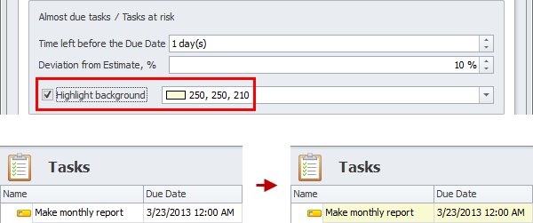 task due date highlight almost due task background