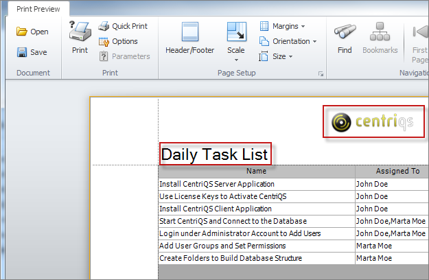 task printing exporting setting document