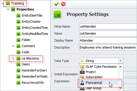 Specify objects in CentriQS database builder